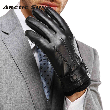 Direct Selling Wrist Men Gloves Thermal Winter Driving Glove Fashion Black Genuine Leather Top Quality Goatskin Rushed M016WZ top quality women gloves wrist short genuine leather glove female winter thermal sheepskin for driving free shipping el031nr