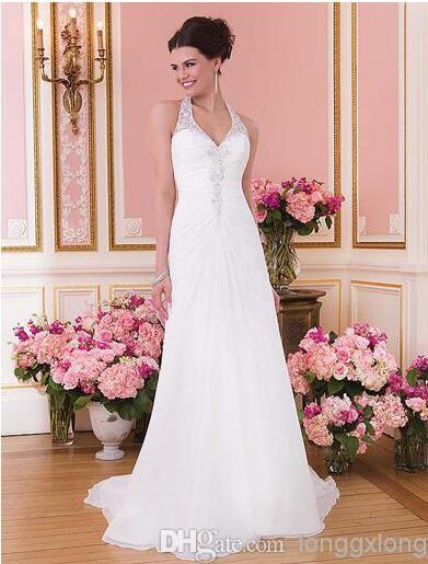 Us 130 0 Charming Stunning Halter Court Train White Chiffon Lace Top Beach Wedding Dresses Low Back Garden Wedding Gowns Sexy Dresses In Wedding