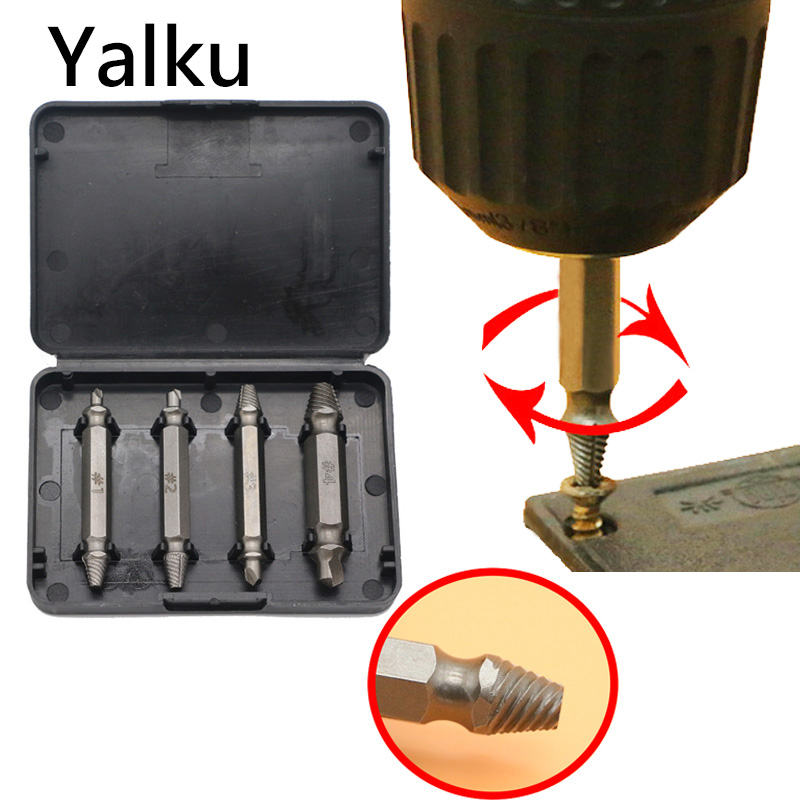 New 4pc Double Side Damaged Screw Extractor Drill Bit Set Broken Head Screw Extractor Disassembly Fracture Bolt Loose Kit
