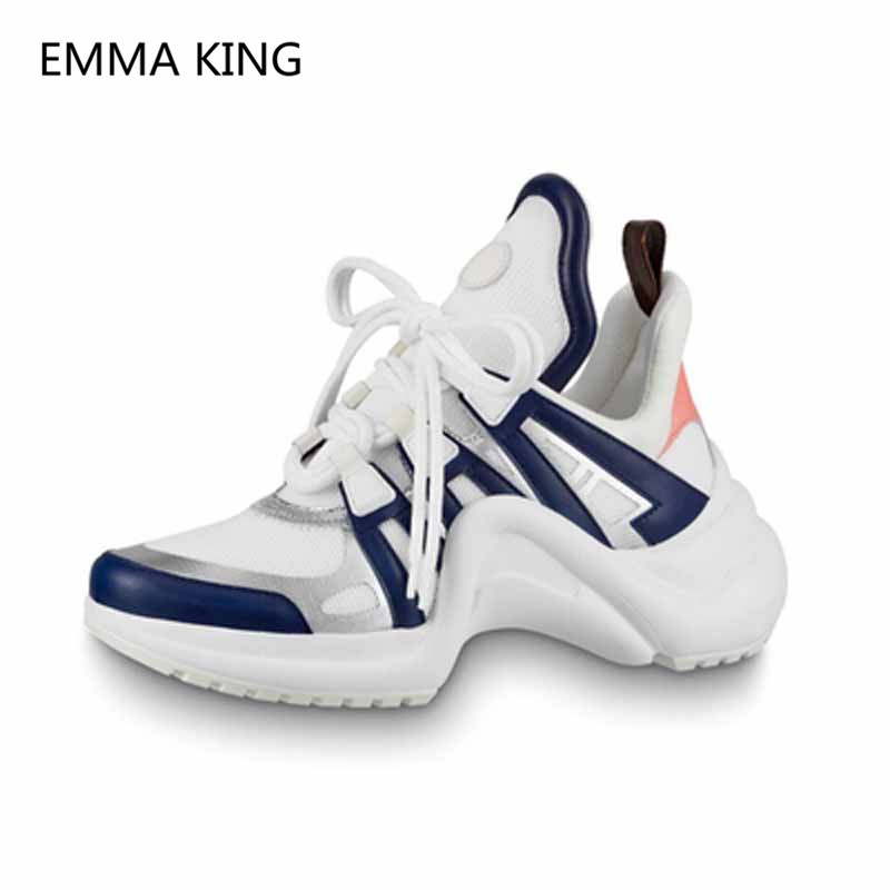 6064dd13bd23 Women Designer Platform Sneakers Lace Up Sport Running Casual Shoes ...