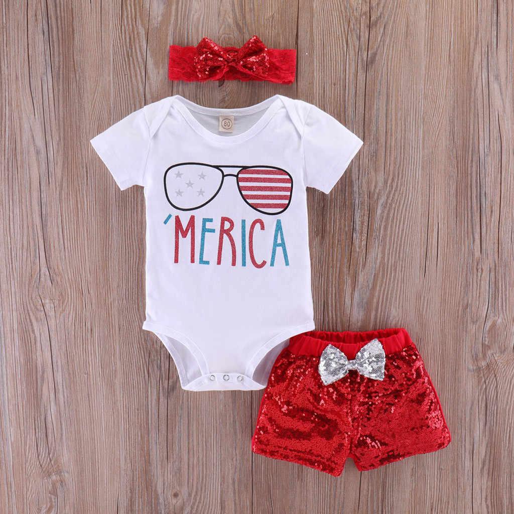 תינוקות תינוקת 4th של יולי עצמאות יום קצר שרוול פנטגרם כוכבים ופס פטריוטית Romper תלבושות מכנסיים מריקה