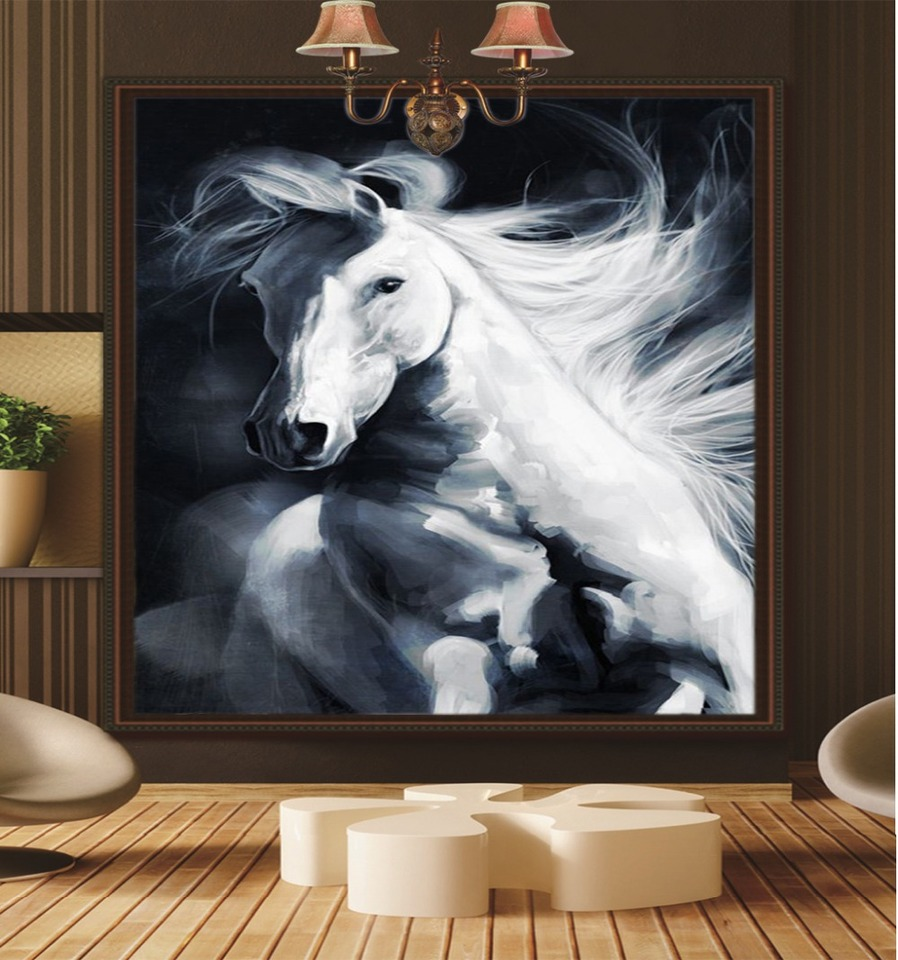 3d Wallpaper Walls Promotion White Horse In The Flying Decoration