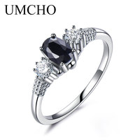 UMCHO Luxury Natural Blue Sapphire Princess Diana Rings Genuine 925 Sterling Silver Engagement Rings For Women