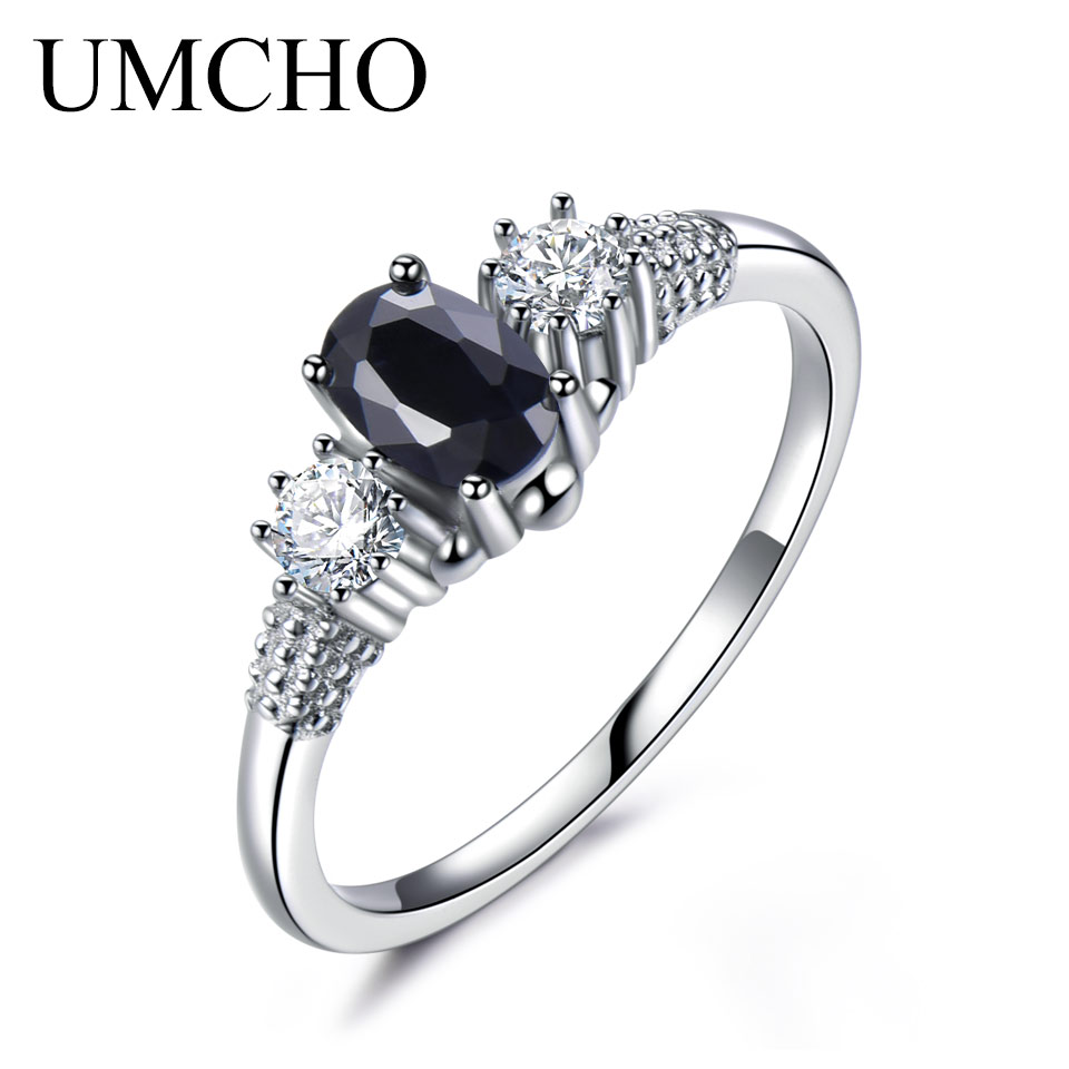 UMCHO Luxury Natural Blue Sapphire Princess Diana Rings Genuine 925 Sterling Silver Enga ...