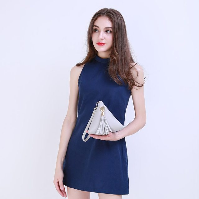 Vogue Star Fashion Mini Tassel Clutch Leather Bag Designer Purse Famous Brand Women Fringe Handbag Evening Bag Bolsa  LS453