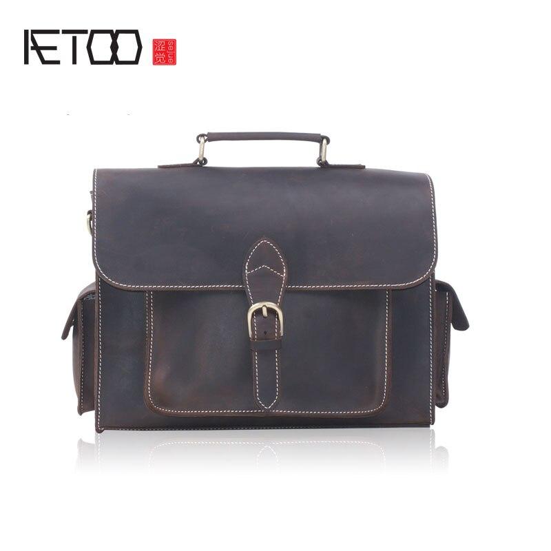 AETOO Crazy horse leather handbag male headband cowhide briefcase shoulder oblique cross A4 file pack