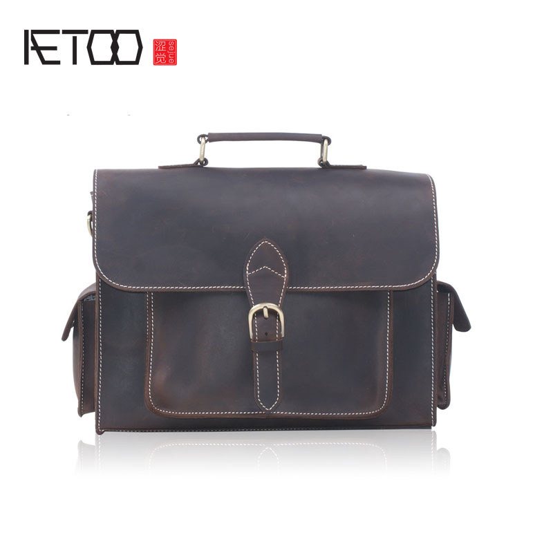 AETOO Crazy horse leather handbag male headband cowhide briefcase shoulder oblique cross A4 file pack