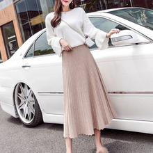 Buenos Ninos Autumn And Winter New Women's High Waist Retro Solid Color Pleated Skirt Loose Slim Knit Skirts buenos ninos красная роза s