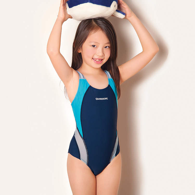 2017 Swimsuit Girls One Piece Swimwear Solid Bandage Bodysuit Children Beachwear Sports Swim Suit Bathing Suit