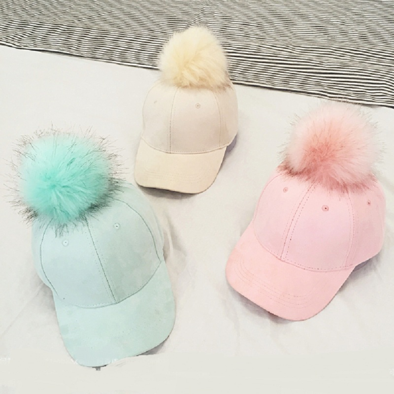 ee256f2755c Fashion Faux Fur Pom Pom Suede Baseball Cap Female Fur Ball Gorros Snapback  Caps Adjustable Solid Hip Hop Hats For Women-in Skullies   Beanies from  Apparel ...