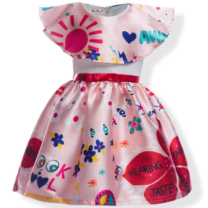 2018 summer style new girls dress children bow dresses princess sunshine fancy flower kids party girls christmas dress Graffiti girls dress summer 2017 new my kids dress big bow and embroidery animal flower girls princess children dress baby girls vestido