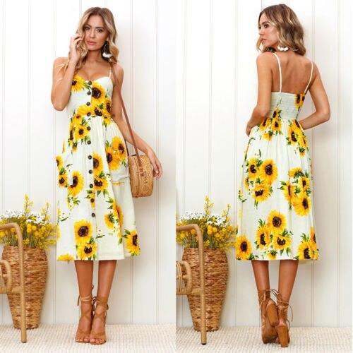 020b07f64a Sunflower Print Dress For Women Floral Print Long Maxi Dress New 2018  Summer Party Evening Summer Beach Sundress-in Dresses from Women s Clothing  on ...