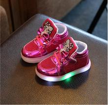 Girls shoes Fashion Sneakers Autumn Winter Brand Led Kids Girls Princess Shoes Sneakers Children Shoes With Light Size 21-30