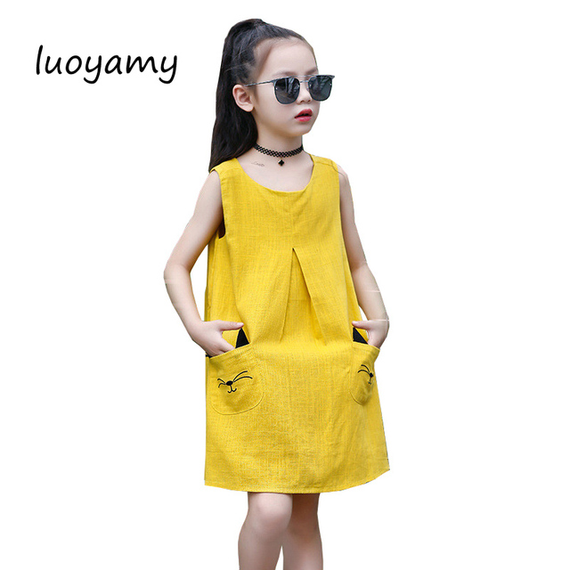 luoyamy Summer Girls Linen Cat Pocket Dress 2017 Children Cute Beach Party  Clothing Wedding Kids Princess O-neck Dresses 4e0217c7db33