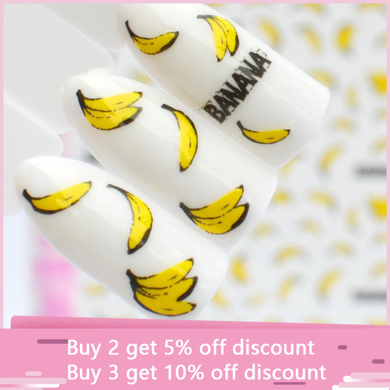 22 Designs 3D Nail Stikcers Art Decorations Self-adhesive DIY Decals Tips Banana Snowdrops Flowers Stickers