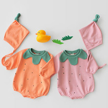 Korean Style Infant Boys Girls Romper Toddler Baby Cute Pumpkin Shape Cotton Long-Sleeved +Hat Jumpsuits Baby Girl Clothes(China)