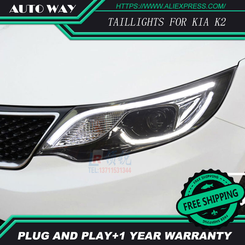 Free shipping ! Car styling LED HID Rio LED headlights Head Lamp case for KIA K2 2015 2016 Bi-Xenon Lens low beam