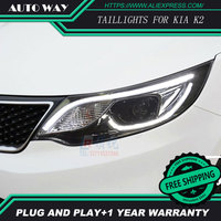 Free Shipping Car Styling LED HID Rio LED Headlights Head Lamp Case For KIA K2 2015
