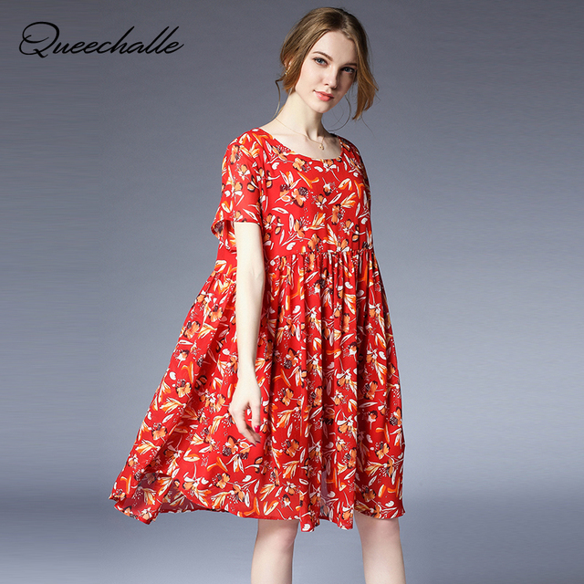 2018 Summer Dress Casual Black Red Floral Print Chiffon Dress 4XL Plus Size  Short Sleeve Loose 9313920dd64a