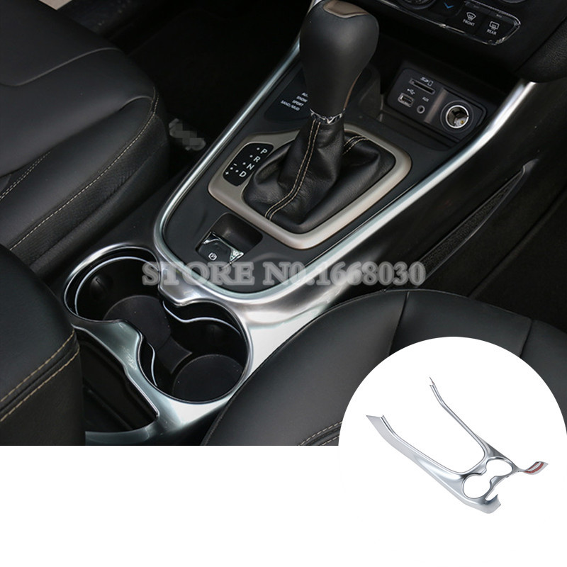 Interior Gear Box & Water Cup Holder Frame Cover For Jeep Cherokee 2014 2016