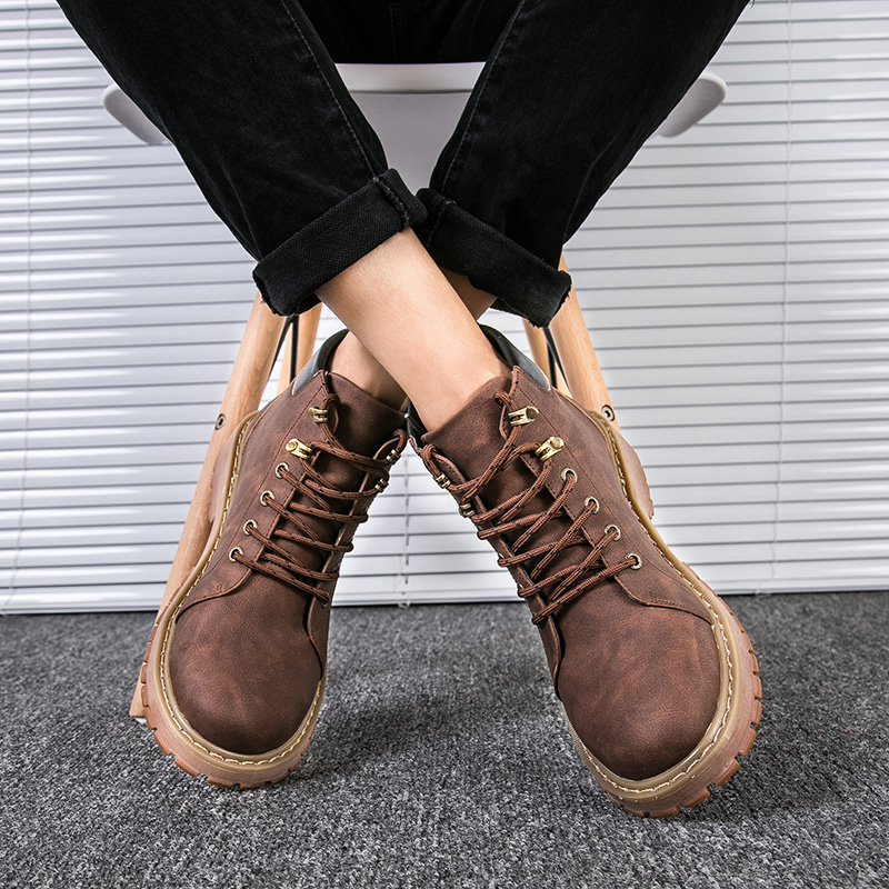 Homme coffee Chaussures brown Hiver Boot Haute K5 Mode Vintage En Air Black cut Plein Style Cheville up Casual Hommes Bottes Lace qRHtPpn
