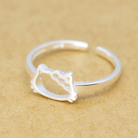 3c425c263 High Quality Cute Hello Kitty Head 925-sterling-silver Ring White Gold  Plated