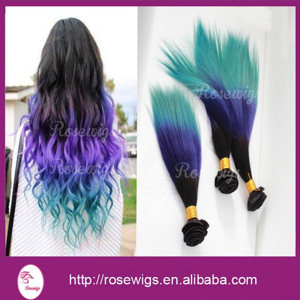 Sew In Human Hair Weave Ombre Peruvian Virgin Hair Straight 1b
