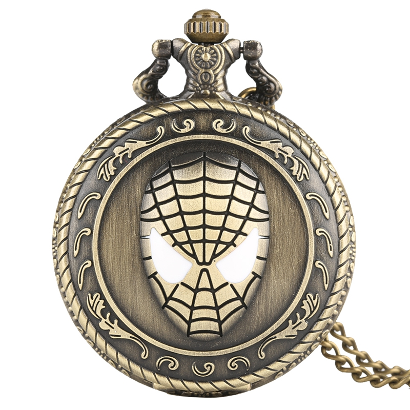 Retro Handmade Carving 3D Spider Man Quartz Pocket Watch Exquisite Style Super Hero Spiderman Gifts For Boy Kids Friends Fans