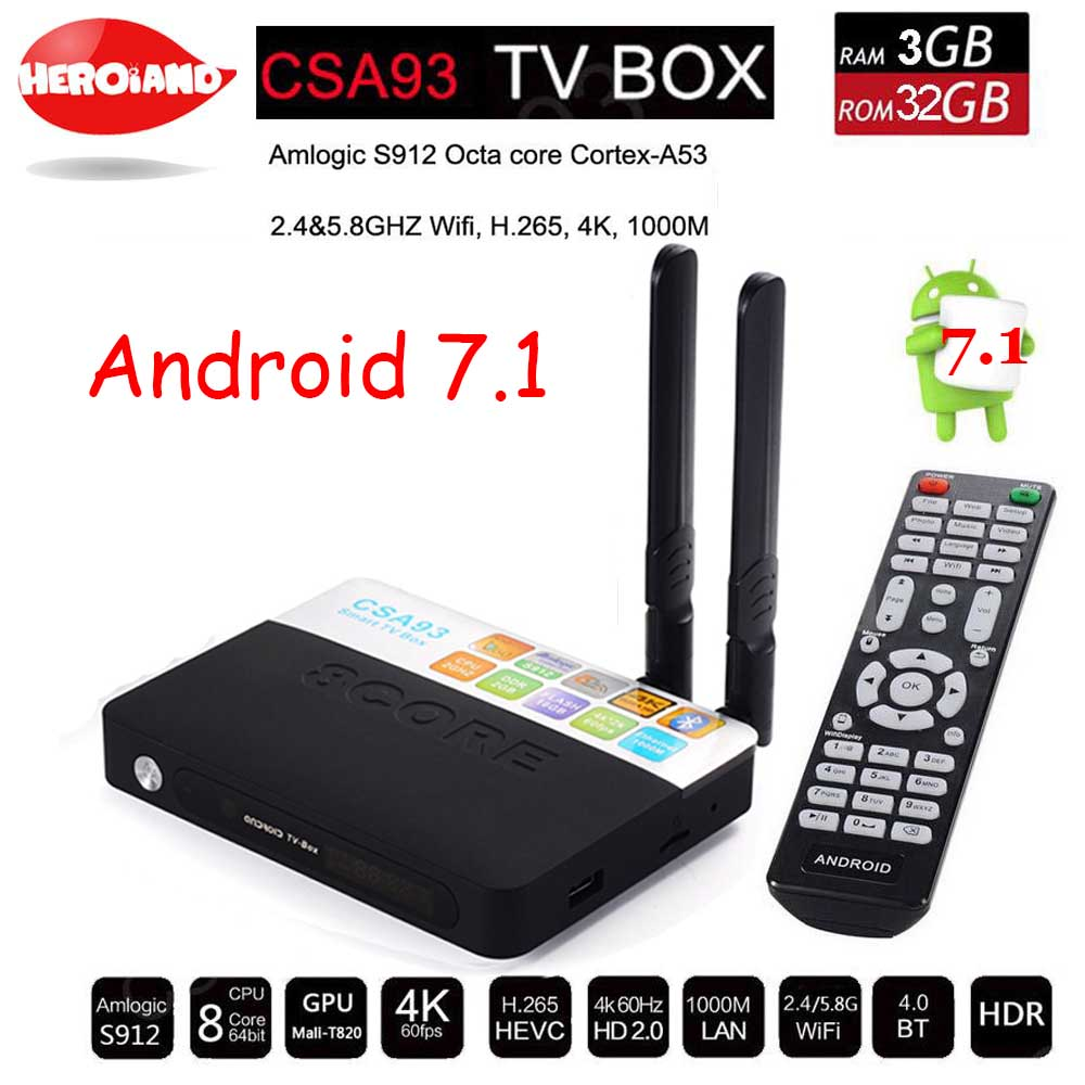 3GB 32GB Android 7.1 smart TV Box Amlogic S912 Octa Core CSA93 Streaming Smart Media Player Wifi BT4.0 4K set TV box PK H96 PRO