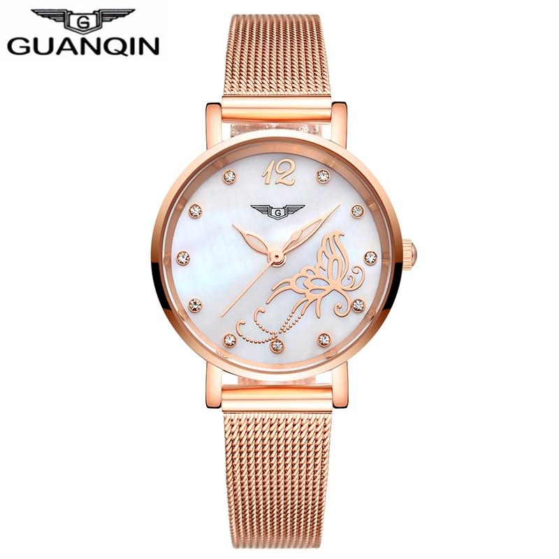 ФОТО GUANQIN GS19042 2017 Watches Women Dress Gold Mesh Band Full Steel Bracele Quartz Watch Luxury Women's Fashion relogio feminino