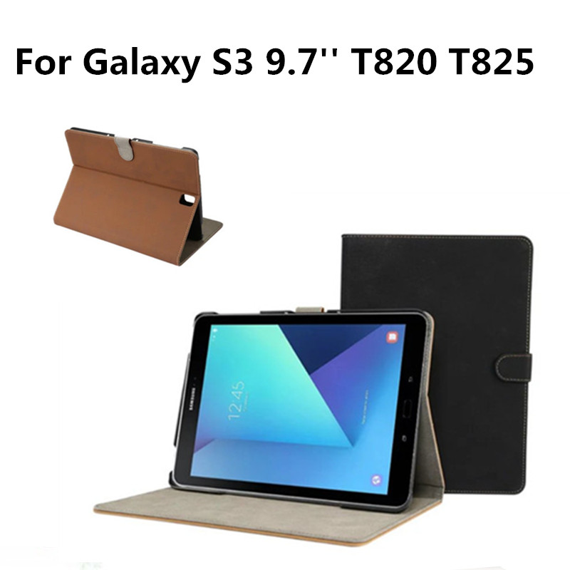 Fashion Retro matte PU Leather With Plasic Back Stand Case Cover For Samsung Galaxy Tab S3 9.7 inch SM-T820 T825  T820 Tablet PC pu leather cover case for samsung galaxy tab 2 p3100 p3110 7 inch case pc fashion polka dots with sleep wake