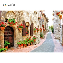 Laeacco City Town Flowers Roadway Alley  Scenic Photography Backgrounds Custom Vinyl Photographic Backdrops For Photo Studio