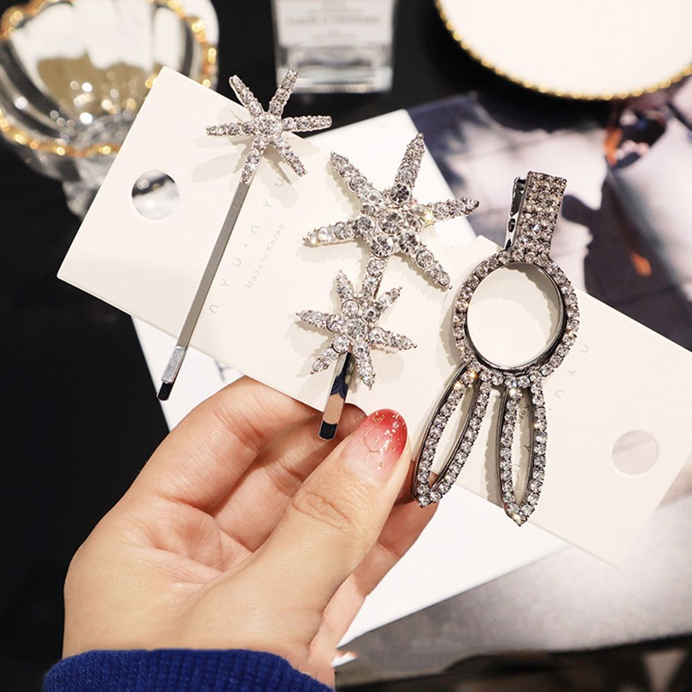 1 pc  Shiny Crystal Rhinestones Hairpins Barrettes Snowflake Rabbit Shape Hair Styling Tools Hair Clips