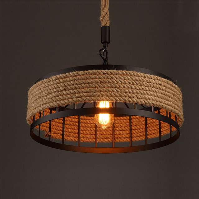 Vintage Pendant Lamp Loft Retro Creative Hemp Rope Hanging Light European Style Lighting Fixture Chandelier