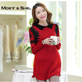 Autumn /Winter Korean Loose Women Maternity Sweater Dress Pullovers Jumper Turn Down Collar Crotchet Knit Wear C68266H