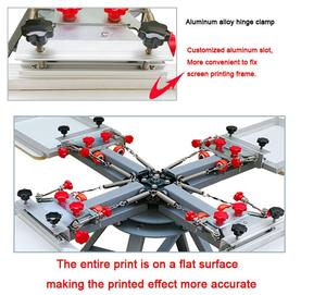 Image 4 - Free shipping Micro Registration 4 color 4 station manual silk screen printing machine for T shirt printer equipment carousel