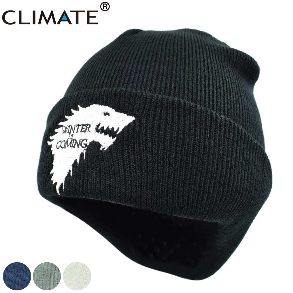 CLIMATE Game Of Thrones Warm Knitted Beanie Skullies House Of Stark Winter is Coming Dire Wolf Hat For Adult Men Women Teenager