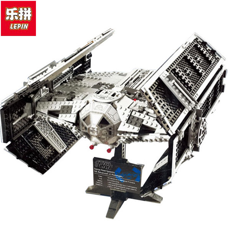 Lepin 05055 Star Series Wars The Rogue One USC Vader TIE Advanced Fighter Set 10175 Building Blocks Bricks Educational Toys lepin 05055 1212pcs star wars vader tie advanced fighter building block toys figure gift for children compatible legoe 10175