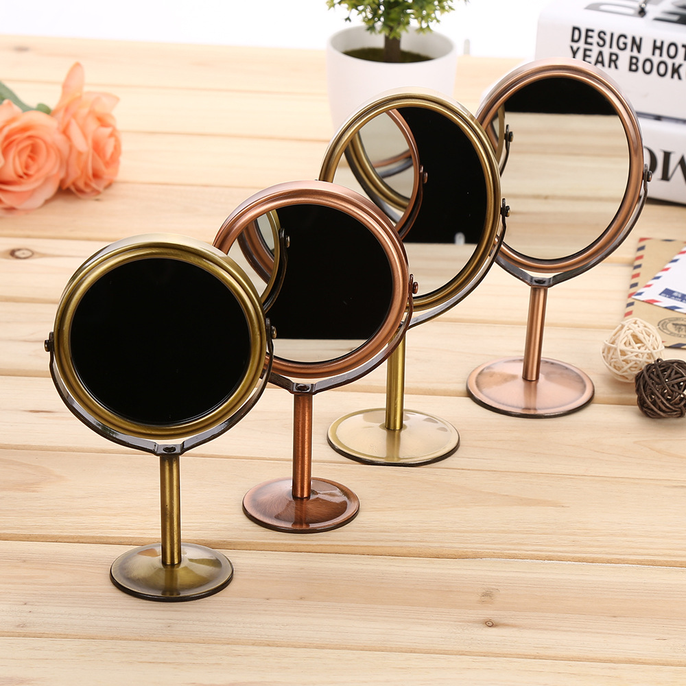Round Metal desktop rotating double face makeup <font><b>mirror</b></font> Make-up <font><b>Mirror</b></font> Dresser <font><b>Mirrors</b></font> 1: 2 zoom function