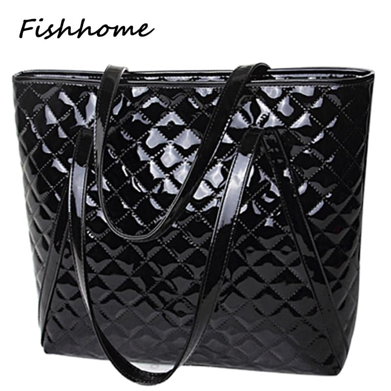2017 patent leather diamond lattice women handbags European American fashion fem