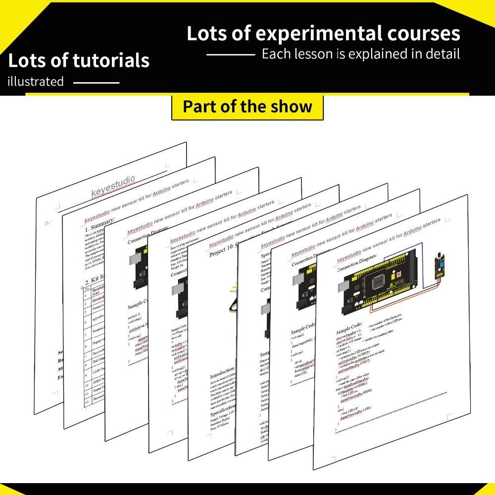 Livraison gratuite! nouveau Kit de démarrage de capteur (Mega 2560 + Shield V1) pour projet Arduino avec boîte-cadeau + capteurs (30 pièces) + PDF (en ligne) - 5