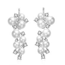 2015 New arrival fashion hot sell grape design pearl crystal 925 sterling silver ladies`stud earrings jewelry gift wholesale