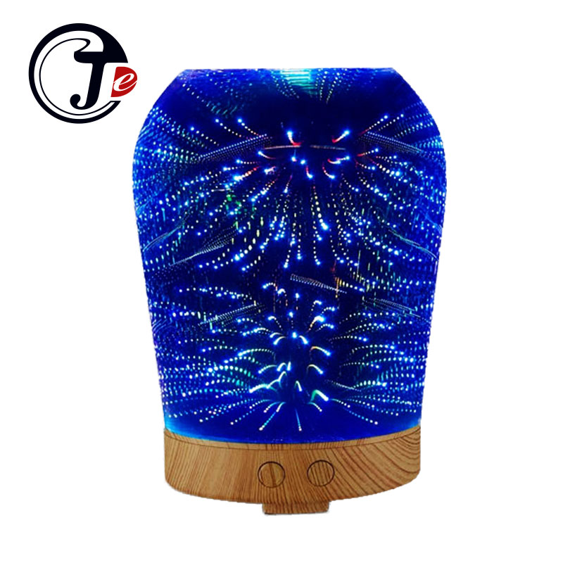 3D Realistic Fireworks Aroma Essential Oil Diffuser Air Ultrasonic Humidifier for Home Aromatherapy Fogger Mist Maker with Light 100ml festival 3d mist maker fogger air ultrasonic humidifier for home aroma essential oil diffuser aromatherapy with led light