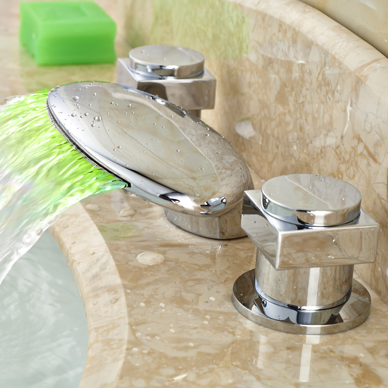 Brass Chrome Basin Vessel Sink Faucet Waterfall Bathroom Mixers Dual Handles Deck Mounted