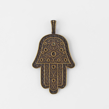 2pcs Antique Bronze Large Charms Hamsa Hamd Eys Palm Pendant For Necklace Jewelry Mkaing Findings 69x40mm