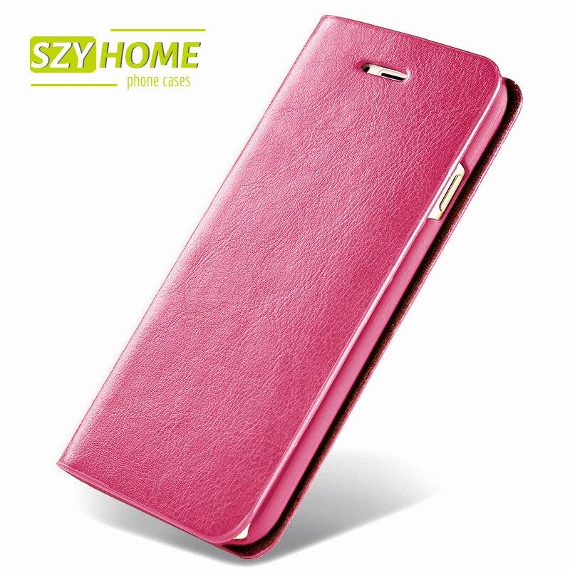 imágenes para SZYHOME Cajas Del Teléfono para El Iphone 6 6 s 7 Más 4 4S 5 5S SÍ 5C de Lujo Retro Real de Cuero Genuino Tirón de la Carpeta Cubierta de La Caja Capa Coque