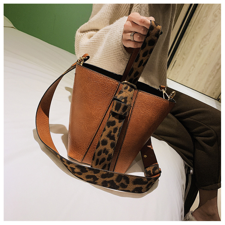 Hocodo moda leopardo impressão balde bolsa feminina