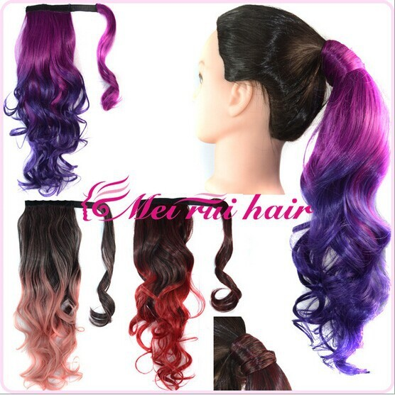 1PC+9 Colors Synthetic Wrap Around Ponytail Two Tone Colors Tail Clip In Invisible Ribbon Hair Piece Pop Pony 9 Colors Available