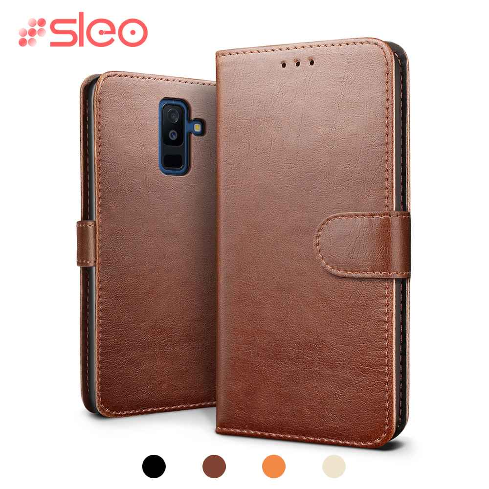 SLEO Retro PU Leather Case For Samsung Galaxy A6 Plus Flip Case Wallet Stand Cover For Samsung Galaxy A6 Case with Card Slot