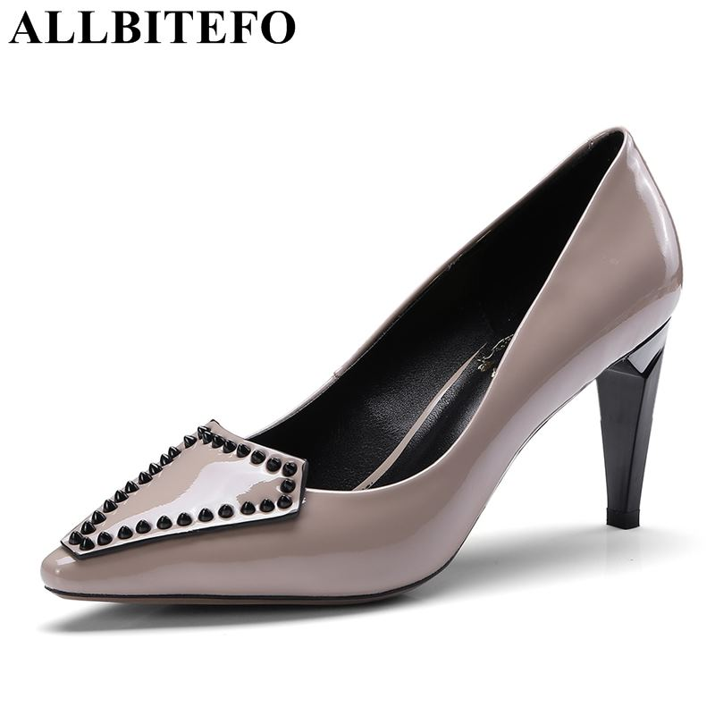 ALLBITEFO new brand rivet genuine leather women heels shoes woman high heel shoes Spring Summer girls fashion casual women pumpsALLBITEFO new brand rivet genuine leather women heels shoes woman high heel shoes Spring Summer girls fashion casual women pumps